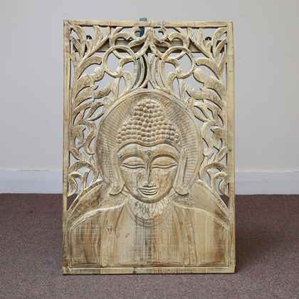 k61-80222 indian accessory carved wall panel neutral wash