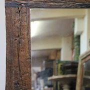 k61-80274 indian furniture mirror rustic frame teak dark wood