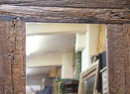k61-80274 indian furniture mirror rustic frame teak wood detail