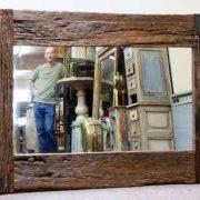 k61-80274 indian furniture mirror rustic frame teak landscape