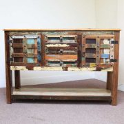 k61-j57-3018 indian furniture console table rustic front view colourful