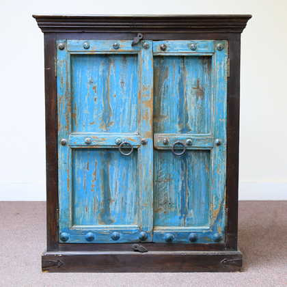 kh11-RS-158 indian furniture carved door blue cabinet front