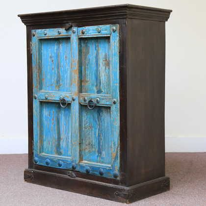 kh11-RS-158 indian furniture carved door blue cabinet angle view