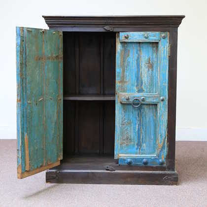 kh11-RS-158 indian furniture carved door blue cabinet one open