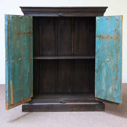 kh11-RS-158 indian furniture carved door blue cabinet open front