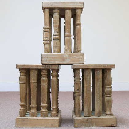 kh11-RS-39 indian furniture wood stool side table set