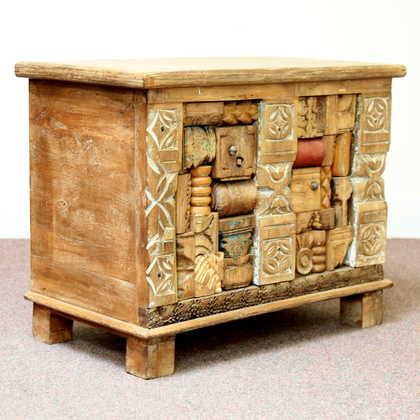 kh11-RS-79 indian furniture carved wooden trunk angled