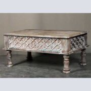 k62-40208 a indian furniture coffee table carved edge - angled