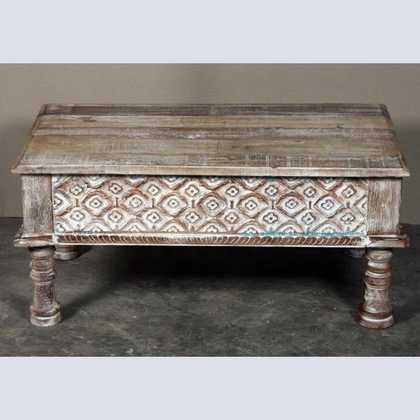 k62-40208-a indian furniture coffee table carved edge front