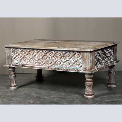k62-40208 a indian furniture coffee table carved edge - angled - A Carved Edge Coffee Table - JUGs Indian Furniture & Gifts