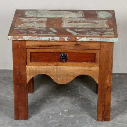 k62-40231 indian furniture table side reclaimed drawer cute