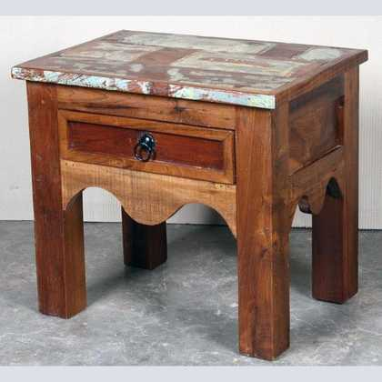 k62-40231 indian furniture table side reclaimed drawer - angled