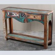 k62-40276 indian furniture console table reclaimed 2 drawer - angled