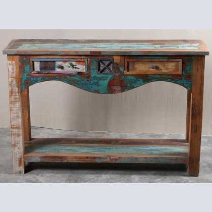 k62-40276 indian furniture console table reclaimed 2 drawer drop riser