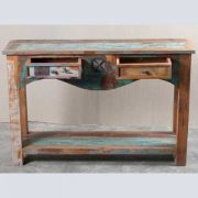 k62-40276 indian furniture console table reclaimed 2 drawer open wood