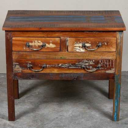 k62-40288 indian furniture console reclaimed-drawers desk distressed