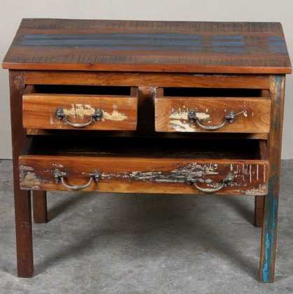 k62-40288 indian furniture console reclaimed drawers desk open