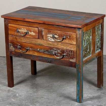 k62-40288 indian furniture console reclaimed drawers desk - angled