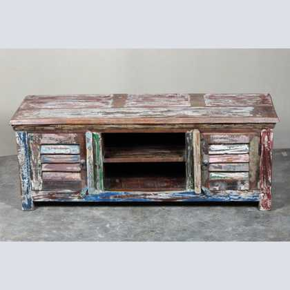 k62-40291 indian furniture tv cabinet shutter small reclaimed front