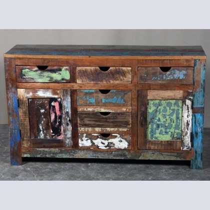 k62-40299 indian furniture sideboard reclaimed 6 drawers cupboards vibrant