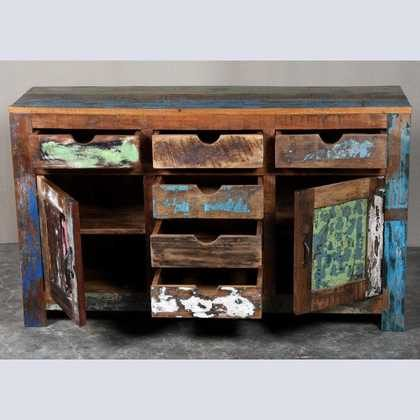 k62-40299 indian furniture sideboard reclaimed 6 drawers cupboards open