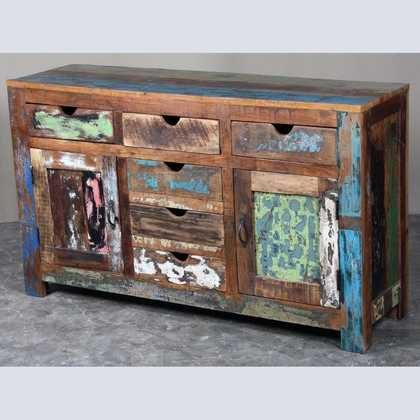 k62-40299 indian furniture sideboard reclaimed 6 drawers cupboards - angled