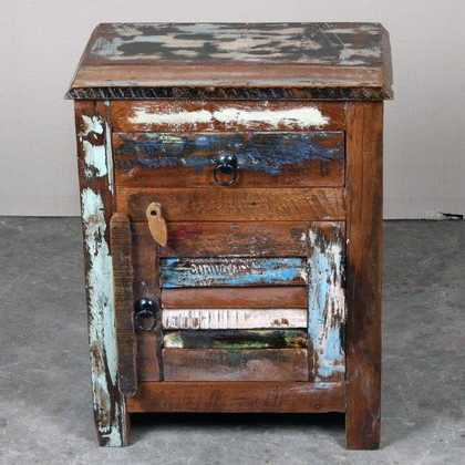 k62-40455 indian furniture bedside reclaimed shutter closed