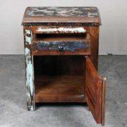 k62-40455 indian furniture bedside reclaimed shutter open