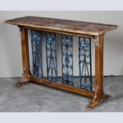 k62-40606 indian furniture console table decorative inset metal - angled