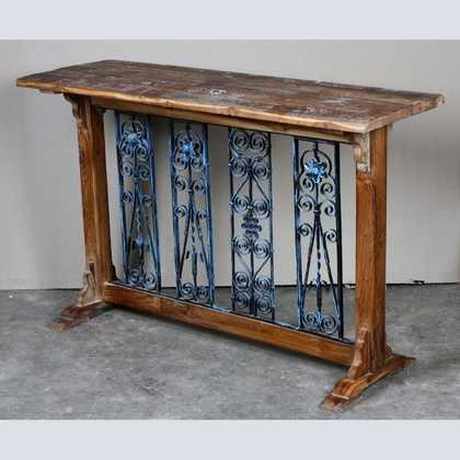 k62-40606 indian furniture console table decorative inset metal - angled ... - JUGs Indian Furniture Brighton & Hove Vintage Reclaimed Wood