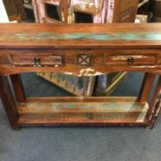 k62 40276 indian furniture console table reclaimed 2 drawer front