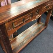 k62 40276 indian furniture console table reclaimed 2 drawer left