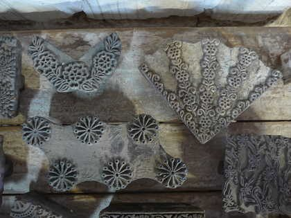 k62-40479 indian print blocks original wooden plants