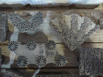 k62-40479 indian print blocks original wooden plants