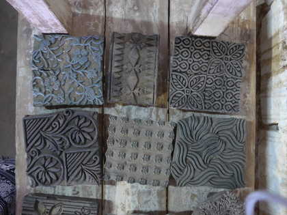 k62-40479 indian print blocks original wooden floral