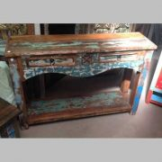 k63-40276 indian furniture console table reclaimed 2 drawer wave blue