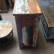 k63-40276 indian furniture console table reclaimed 2 drawer wave paint work