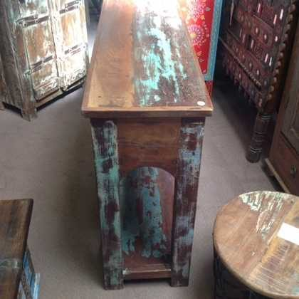 k63-40276 indian furniture console table reclaimed 2 drawer wave rustic
