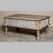 k69 2432 indian furniture coffee table carved edges white small