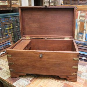 k63-40499-d indian furniture trunk storage teak compartment blanket box