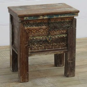 k13-RSO-03 indian furniture box storage carved front small hardwood