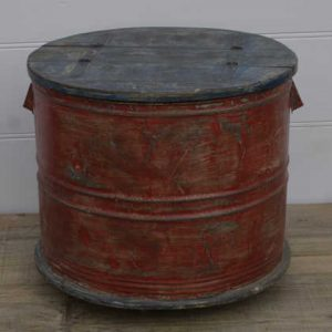 k13-RSO-12-a indian furniture side table trunk round red upcycled
