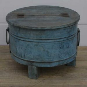 k13-RSO-12-b indian furniture side table trunk round blue seat