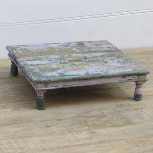 k13-RSO-13 indian furniture low table bajot chokki old distressed