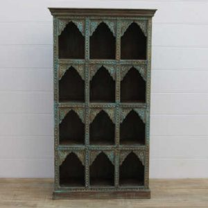 k13-RSO-33 indian furniture display case arch 12 hole hand carved