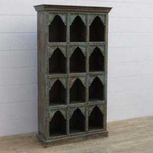 k13-RSO-33 indian furniture display case arch 12 hole hardwood