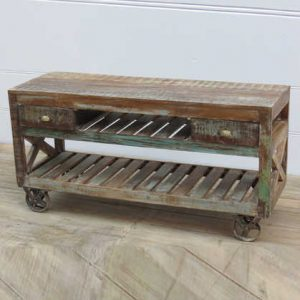 k13-RSO-38 indian low console bench wheels drawers slatted unusual