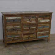 k13-RSO-40 indian furniture sideboard chest of 9 drawers reclaimed reclaimed rustic
