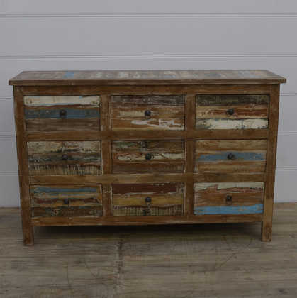 k13-RSO-40 indian furniture sideboard chest of 9 drawers reclaimed reclaimed blue