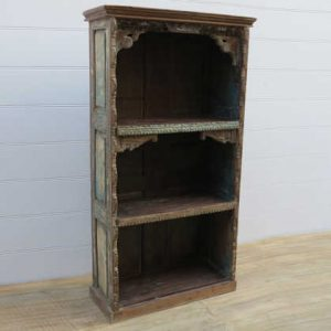 k13-RSO-41 indian furniture bookcase 3 shelves old pieces paneled